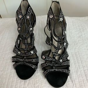 Classified Black Rhinestone heels Strappy size 10